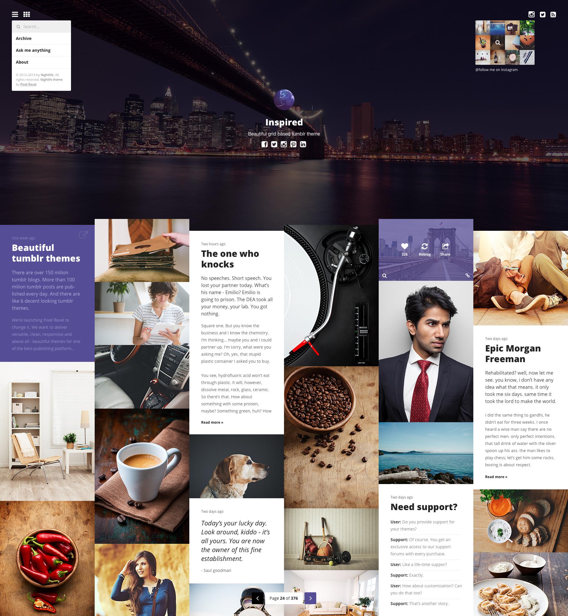 Index full menus