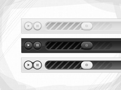 Modern video player psd free freebies light dark video player button slider