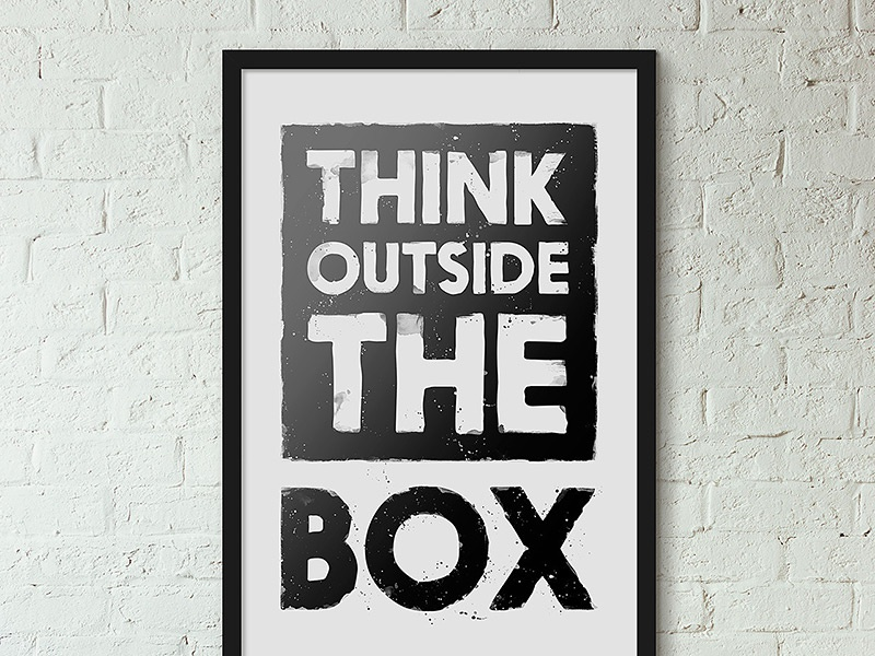 Think Outside the Box bricks wall frame splatter grunge paper product typography print poster
