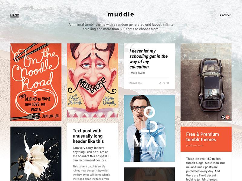 Muddle tumblr theme blog grid minimal web design webdesign masonry website web theme tumblr theme tumblr muddle