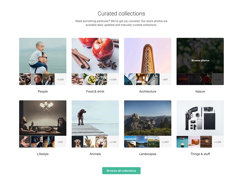 Curated collections web design light cta minimal clean webdesign web gallery photography free stock photos stock