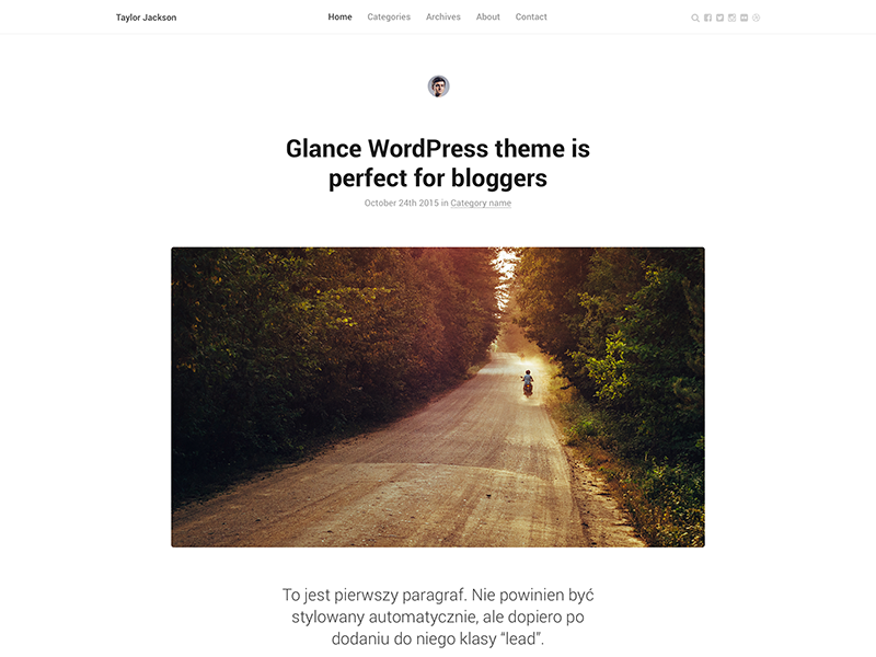 Glance WordPress theme web roboto light clean typography blogging blog minimal wordpress theme theme glance wordpress