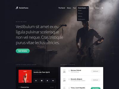 Band template webdesign button dark menu joomla template landing web design player website web