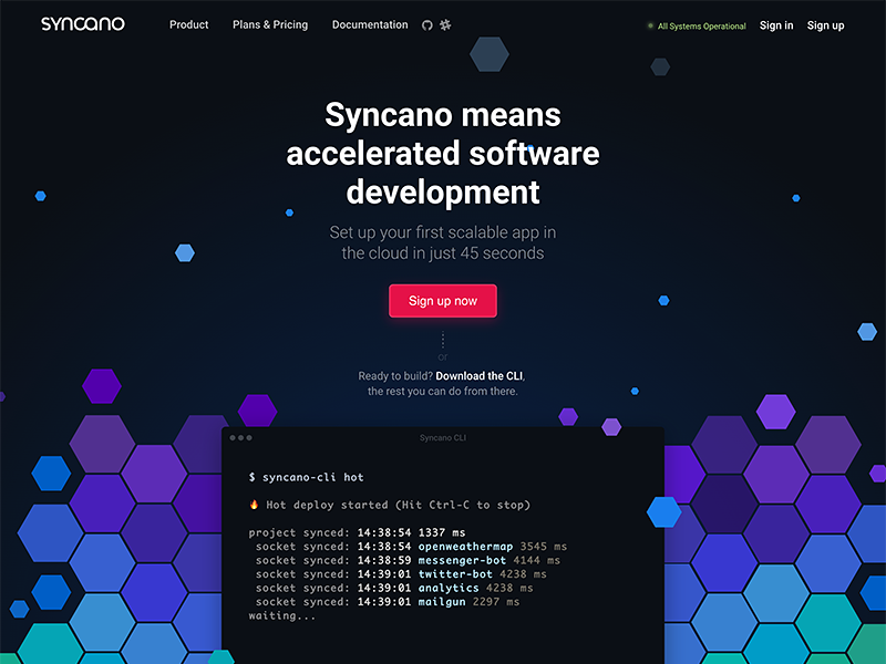 Syncano Landing Page colors hero web-design website web mac product page landing landing-page