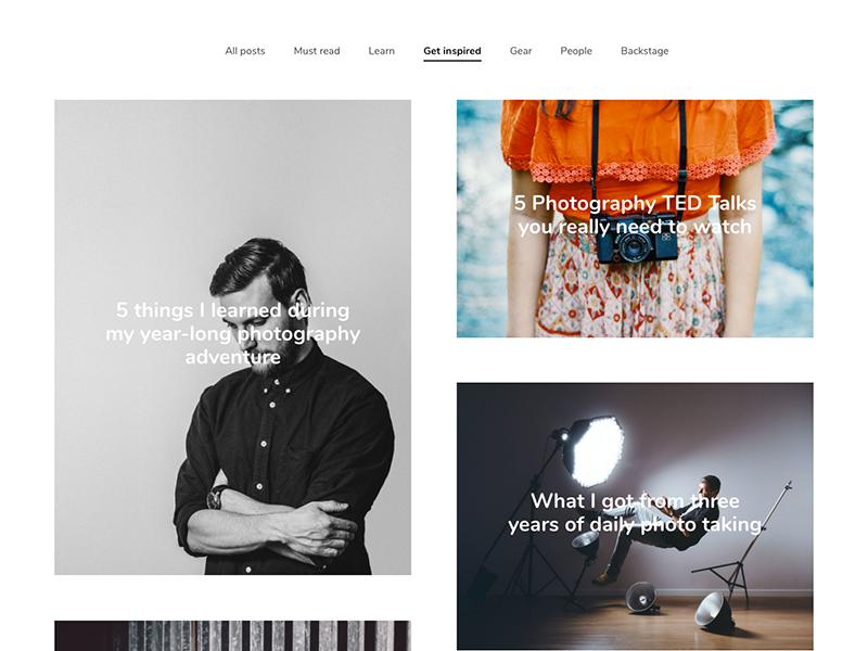 New blog layout mosaik grid magazine photography minimal theme wordpress photos masonry blog