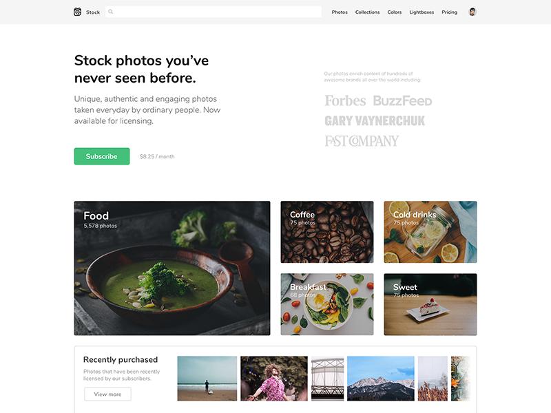 Stock Photos homepage clean minimal web design webdesign web photos stock website landing page landing
