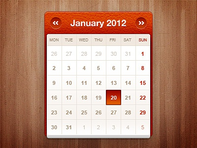 Little calendar widget psd free freebies web interface widget ui wood calendar