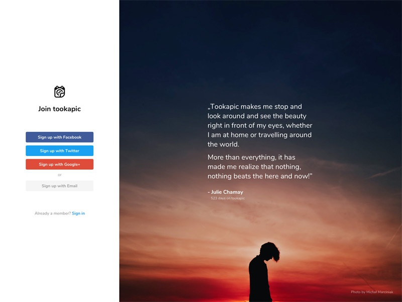 New Sign up pages button typography photo minimal web saas registration sign in form sign up