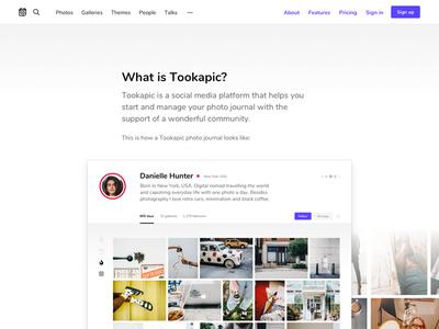 What is Tookapic? clean menu webapp minimal screenshot typoraphy about web website