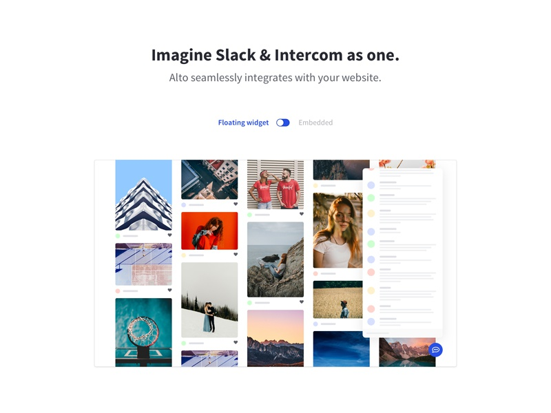Slack + Intercom = Alto web screenshot slack intercom widget masonry toggle header landing page landing