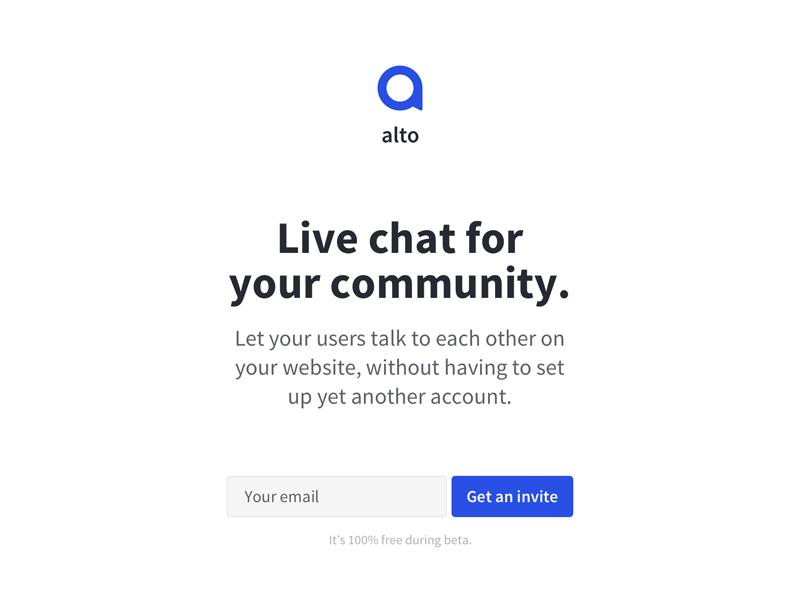 Live chat for your community header typography logo clean minimal web landing page email form input chat