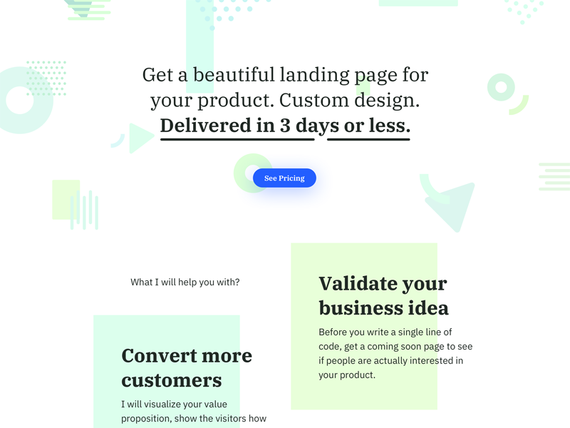 Product Page Design minimal web shape typography button landing page portfolio