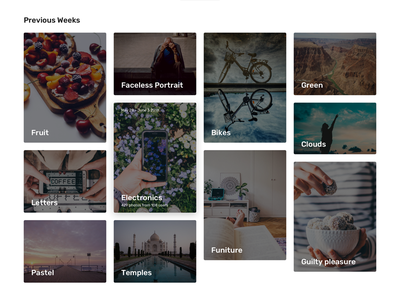 Weekly Themes Archive typography ux ui clean minimal web photography photos layout masonry grid