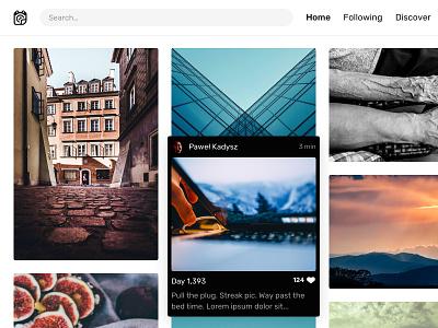 Photo hover webdesign web design clean ui minimalism minimal website web grid masonry photo hover