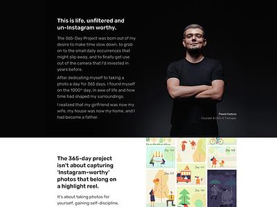 This is life. Unfiltered. photo clean ui illustration web design typography website minimal webdesign web landing page landing