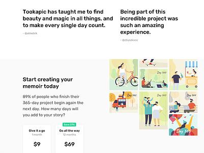 Start creating your memoir webdesign typography app web web design website minimal clean illustration grid masonry landing page landing pricing