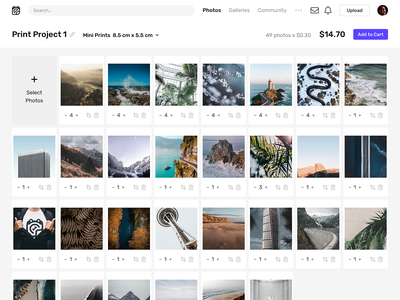 Print Project web minimal web design clean webdesign ecommerce interface ux ui website web app app print photography photos