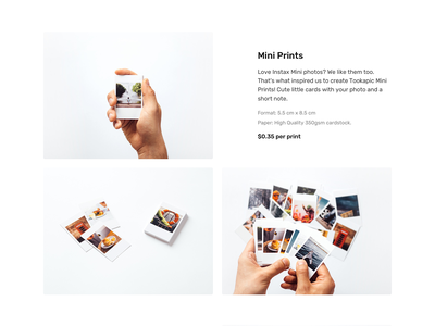 Mini Prints clean landing page landing webdesign photography photo web minimalism minimal website ecommerce shop product photos