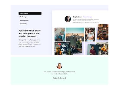 Photo Journal design web design clean pastel minimal website webdesign web testimonial grid features landing page design landing page landing