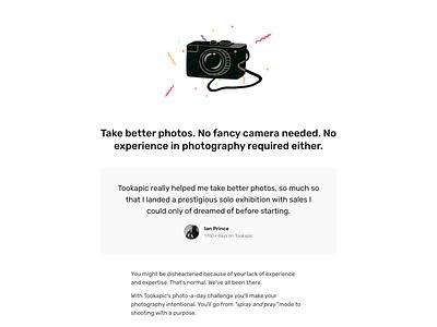 No fancy camera testimonial product illustration typography design clean minimal website landing landing page