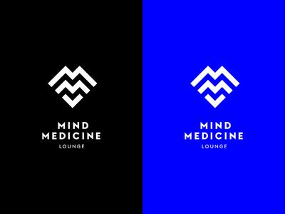 MIND MEDICINE LOUNGE monogram geometric black blue logo