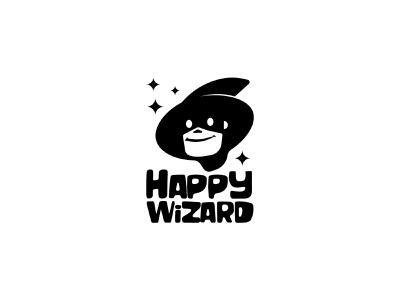 happy wizard black logo minimal black branding vector illustration design signet logo