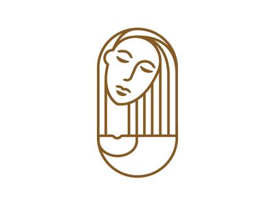 Lady illustration design signet logo