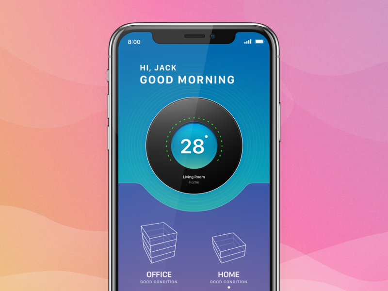 Temperature Cotrol smart home technology iot concept ios app ux ui design