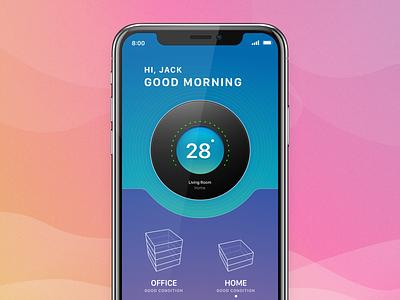 Temperature Cotrol smart home technology iot concept ios app ux ui design