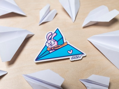 Paper Plane Bunny illustrator sticker illustration paper airplane rabbit snowbunny bunny paperplane