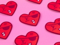 Tough Guy Heart Patch eye patch patch heartbeat happy valentines love cute heart tough love tough guy eyepatch redheart heart heartbreak patch work patch design patches