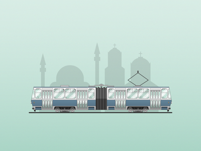 Tram Tatra KT4 vehicle tram illustration