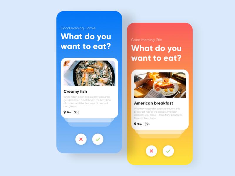 Dinner Tinder food app restaurant recipe food website responsive app mobile swipe tinder dinner design ux ui