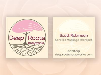 Deep Roots Bodyworks massage tree business card cmt
