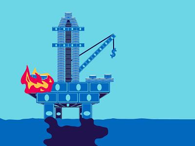 Deepwater Horizon fire deepwater horizon offshore drilling coins money illustrator
