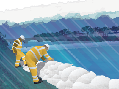 Sand Bags resource management rain illustrator flood