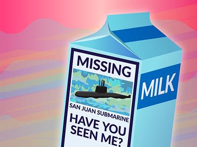 San Juan Milk Carton submarine missing milk illustrator