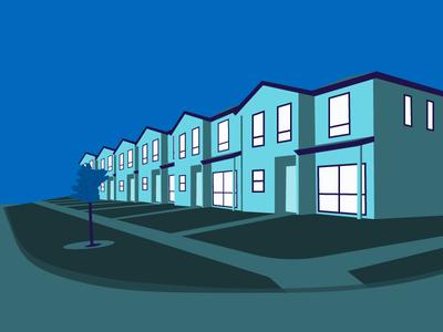Housing neighborhood blue house case study illustrator