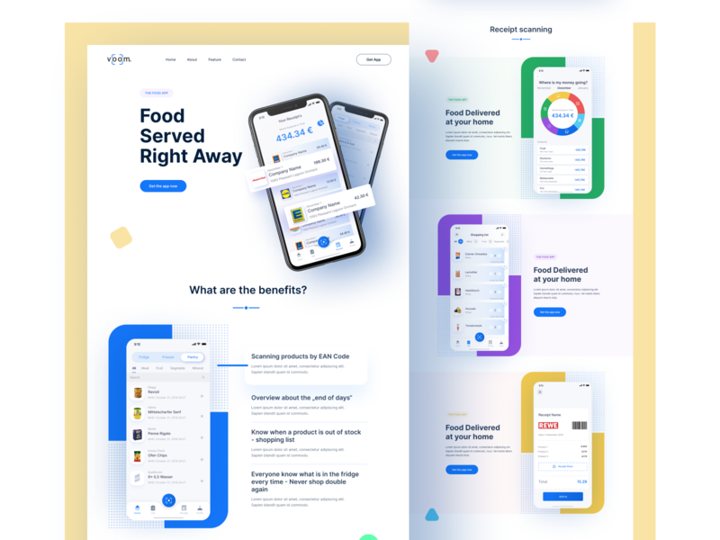 App Landing Page android ios landing page qr code scan receipt recipes home delivery features food typography color website web ux ui app landing page landingpage