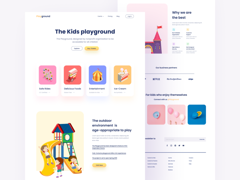 The Playground Landing Page logo dashboad webdesign card design ticket crypto seo food entertainment park kids illustration minimal color app ux ui landing page website web