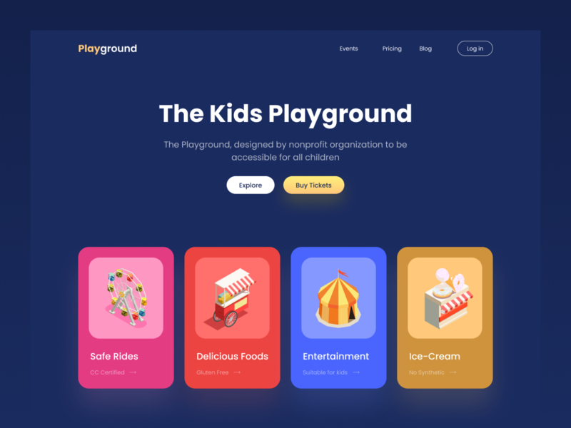 The Playground Dark Header debut minimal ux ui dashboad app color website web logo branding illustration dark theme dark ui crypto seo landing page landingpage kids card design