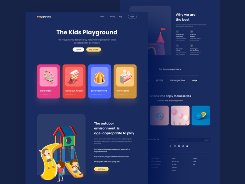 The Playground Landing Page Dark modern crypto service playground play illustration theme park park entertainment kids kids illustration landing page landing website web dark theme dark color card design cards