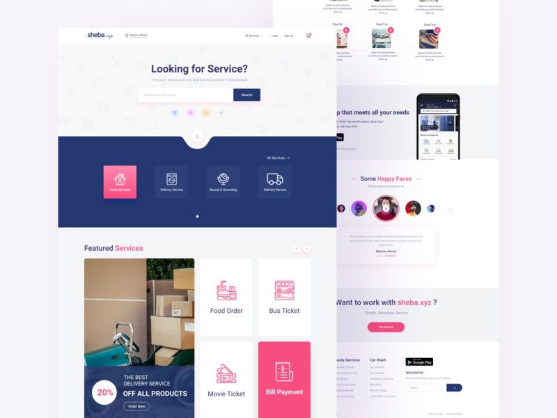 Sheba Landing Page web design mobile landing movie ticket food services sheba design typogaphy branding logo debut minimal app ux color website web ui