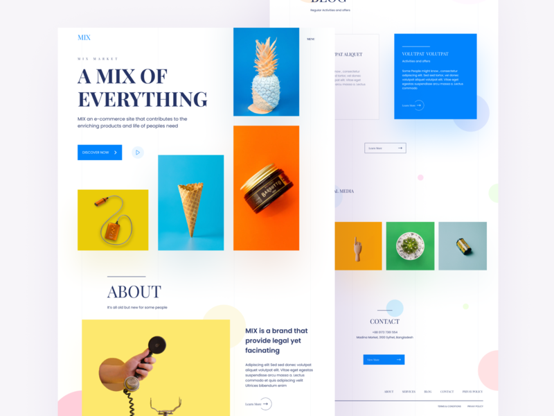 Mix Landing Page service about home webpage design ui design dashboard e-commerce landing page landing typography branding debut minimal app ux color website web ui