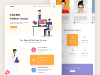 TeleMed Landing Page covid covid-19 doctor features service typography illustration minimal ux ui color website web design landing page medication medical medicine