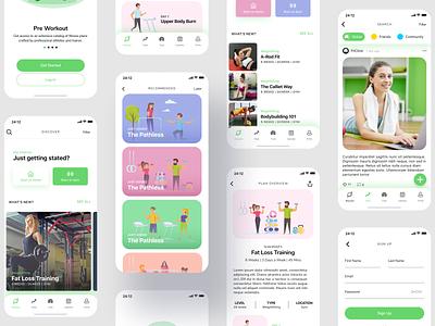 Fitness App Design app concept uidesign design fashion illustration app ux ui android ios app ui mobile app app design trainer training gym workout app health app fitness app fit