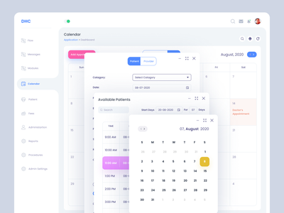 Dashboard Calendar Design calendar web web application design user experience userinterface design uidesign application doctor app appointment doctor appointment schedule booking health app medical care medical dashboad doctor patient admin panel