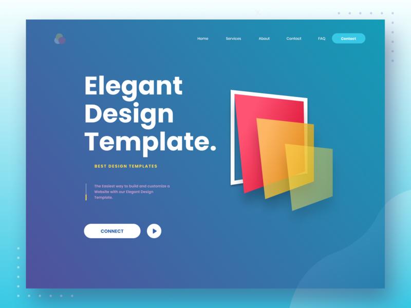 Elegant Design Template icon typography interaction debut minimal website flat web app color branding hello dribble gradient dribbble digital ux logo vector illustration ui