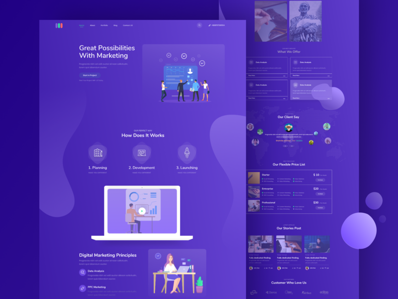 Digital Marketing Landing Page Dark UI business marketing flat branding hello ux design illustration debut app website web vector ui minimal gradient dribbble digital color