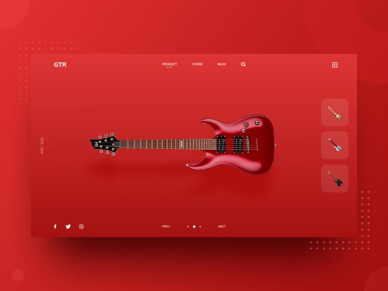 GTR Home Page Design Concept animation icon ux design logo app vector ui debut digital dribbble landingpage homepage header website web color red music guitar
